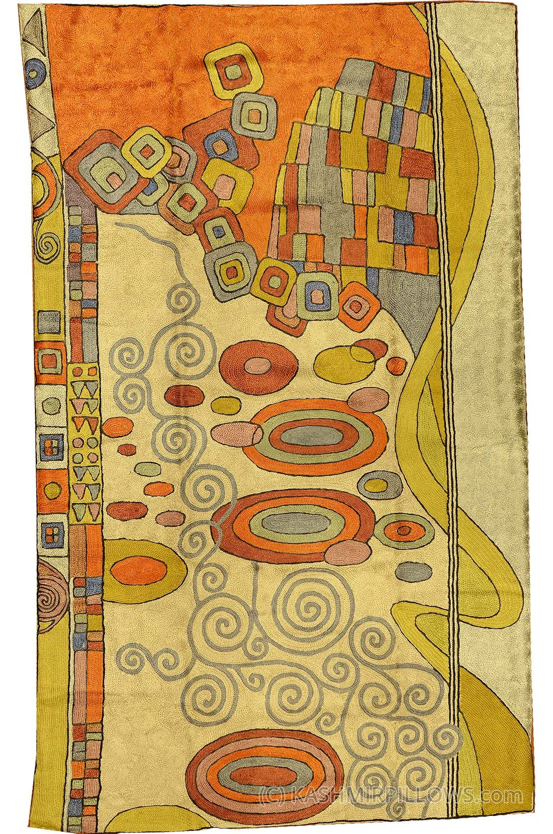 Klimt Silk Rug Swirls / Wall Tapestry Hand Embroidered 2.5ft x 4ft ...