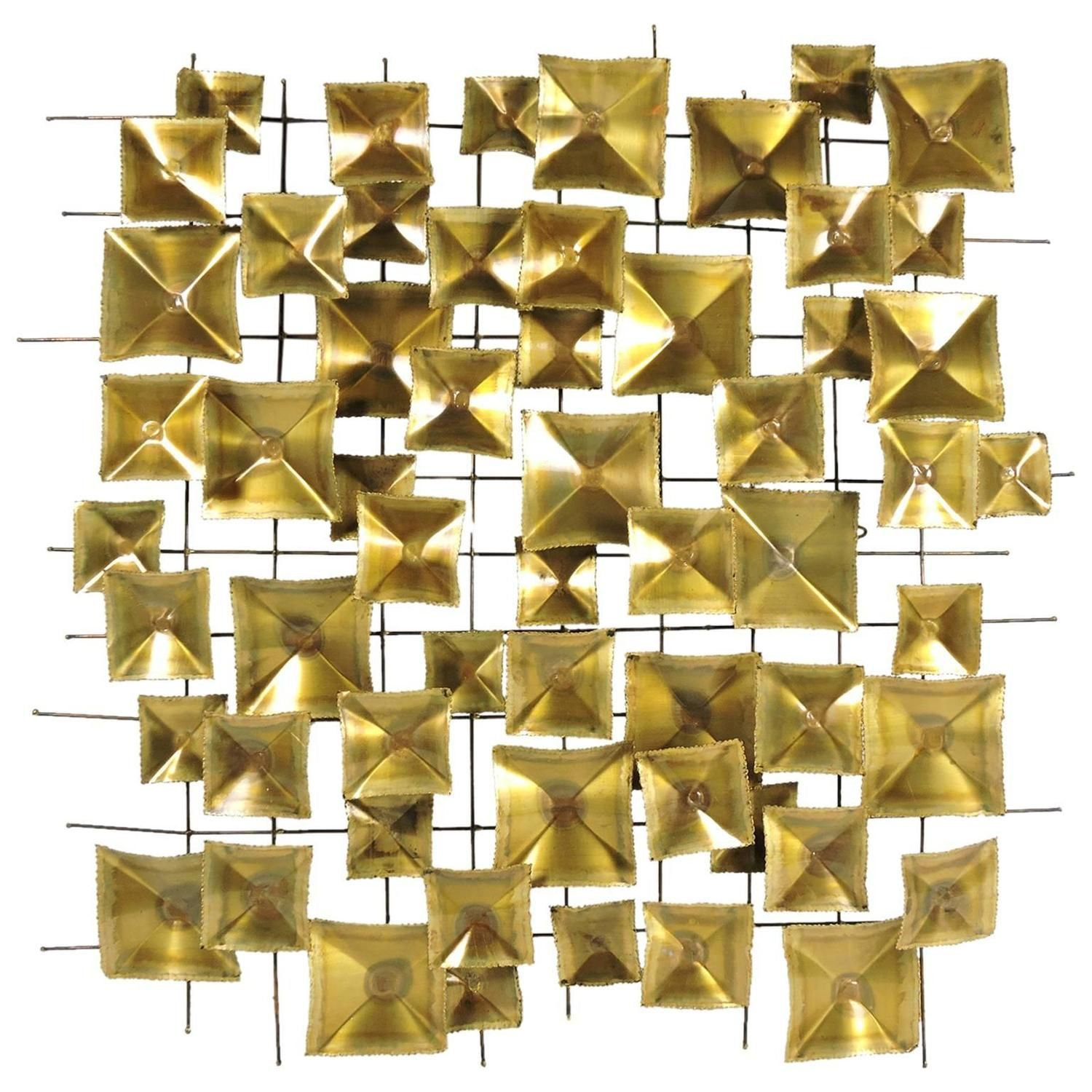 Mid-Century Brutalist Geometric Brass and Metal Wall Sculpture ...