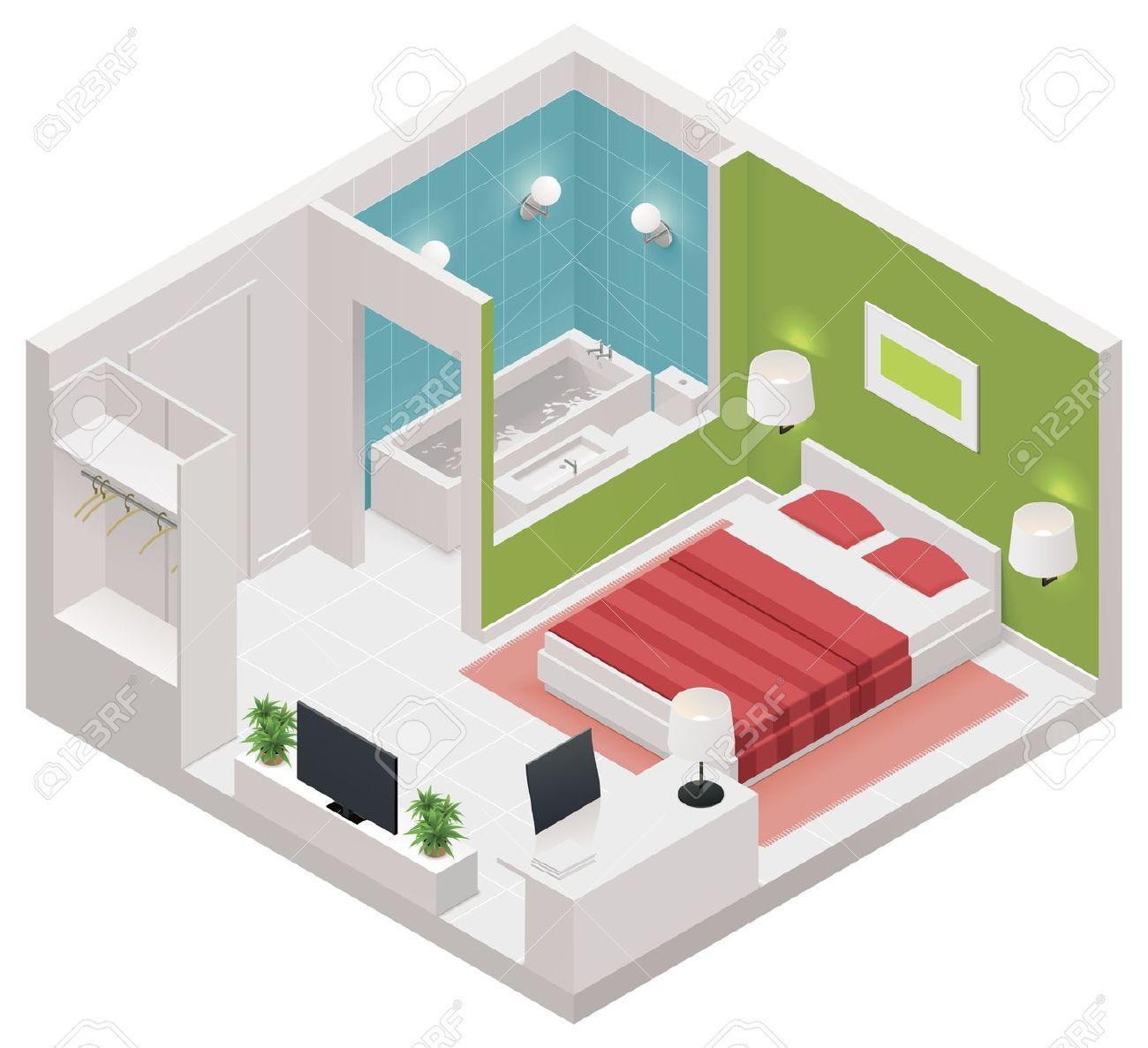 Isom trique ic ne de chambre d 39 h tel clip art libres de for Chambre flat design