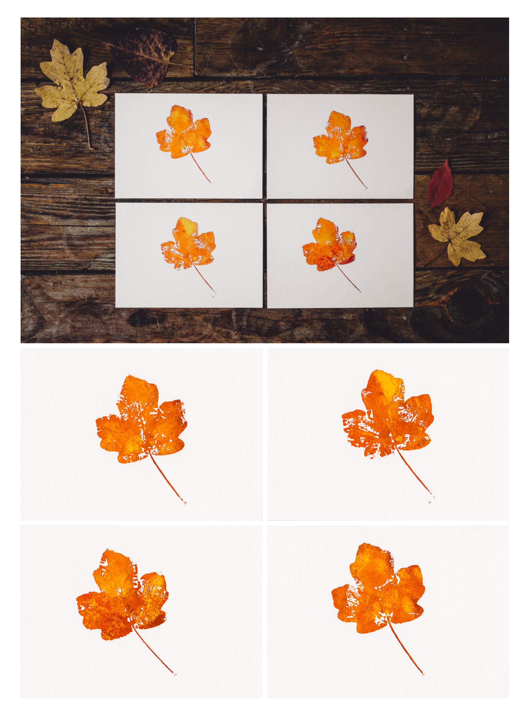 Field maple leaf pattern imprinted on a water colour paper postcard