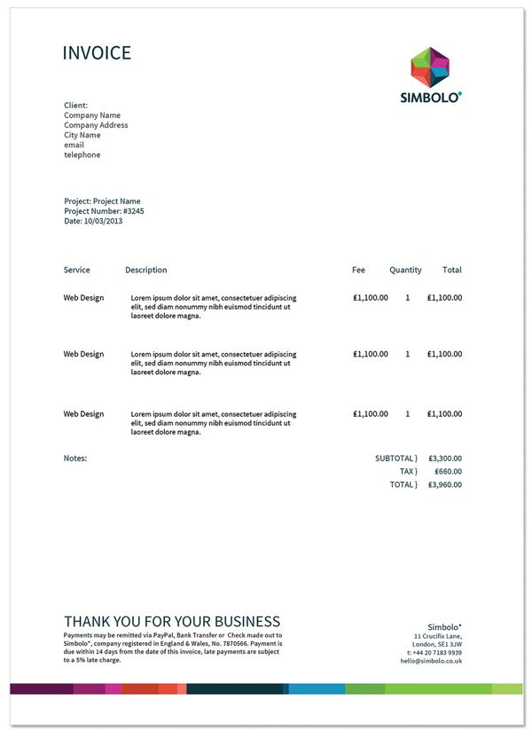 Simbolo* Branding Invoice They Provide programming, software - invoice services