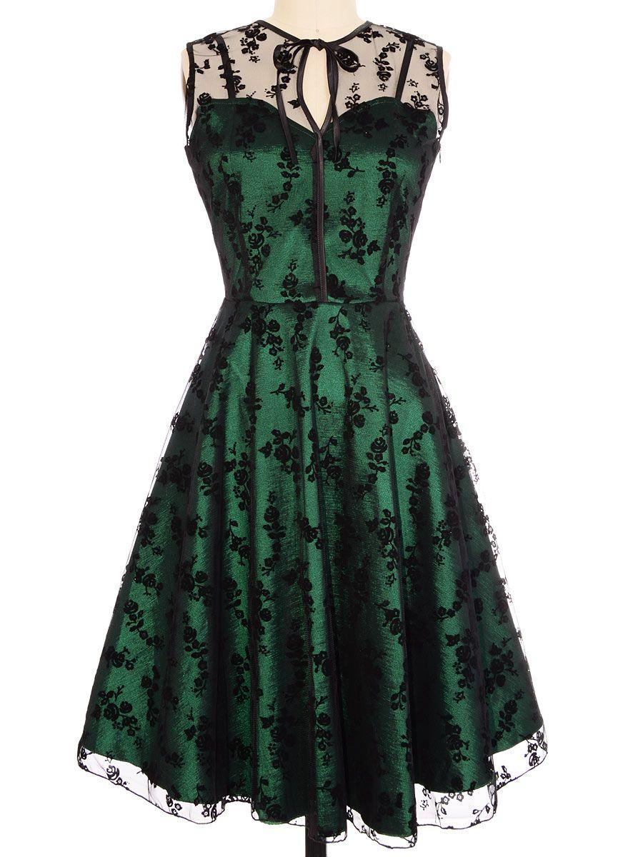 010f9fd5de1 Emerald   Onyx Lace Cocktail Dress by Voodoo Vixen