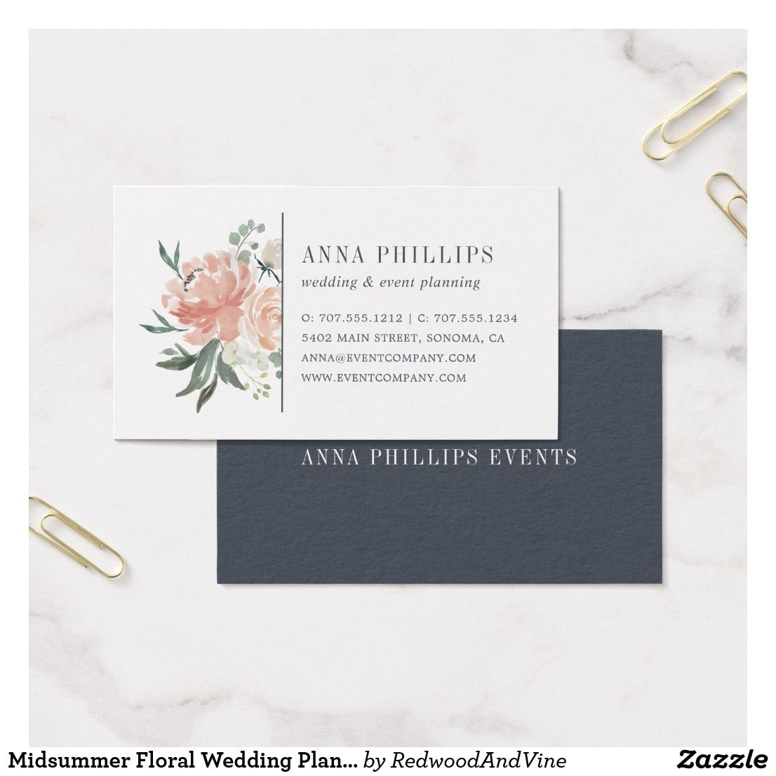 Midsummer Floral Wedding Planner Business Card | Pinterest | Floral ...