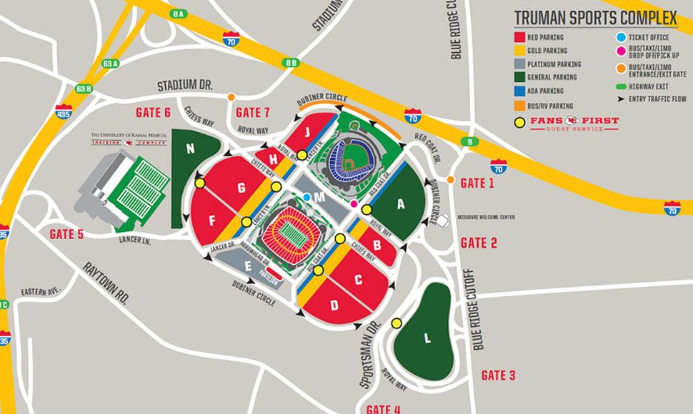 Parking Maps | Chiefs.com | Ha if raining we get to walk up a hill on