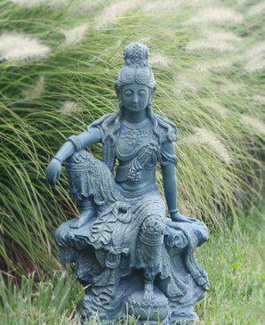 Kuan Yin Goddess of compassion and mercy stone garden ornament Buddha feng shui