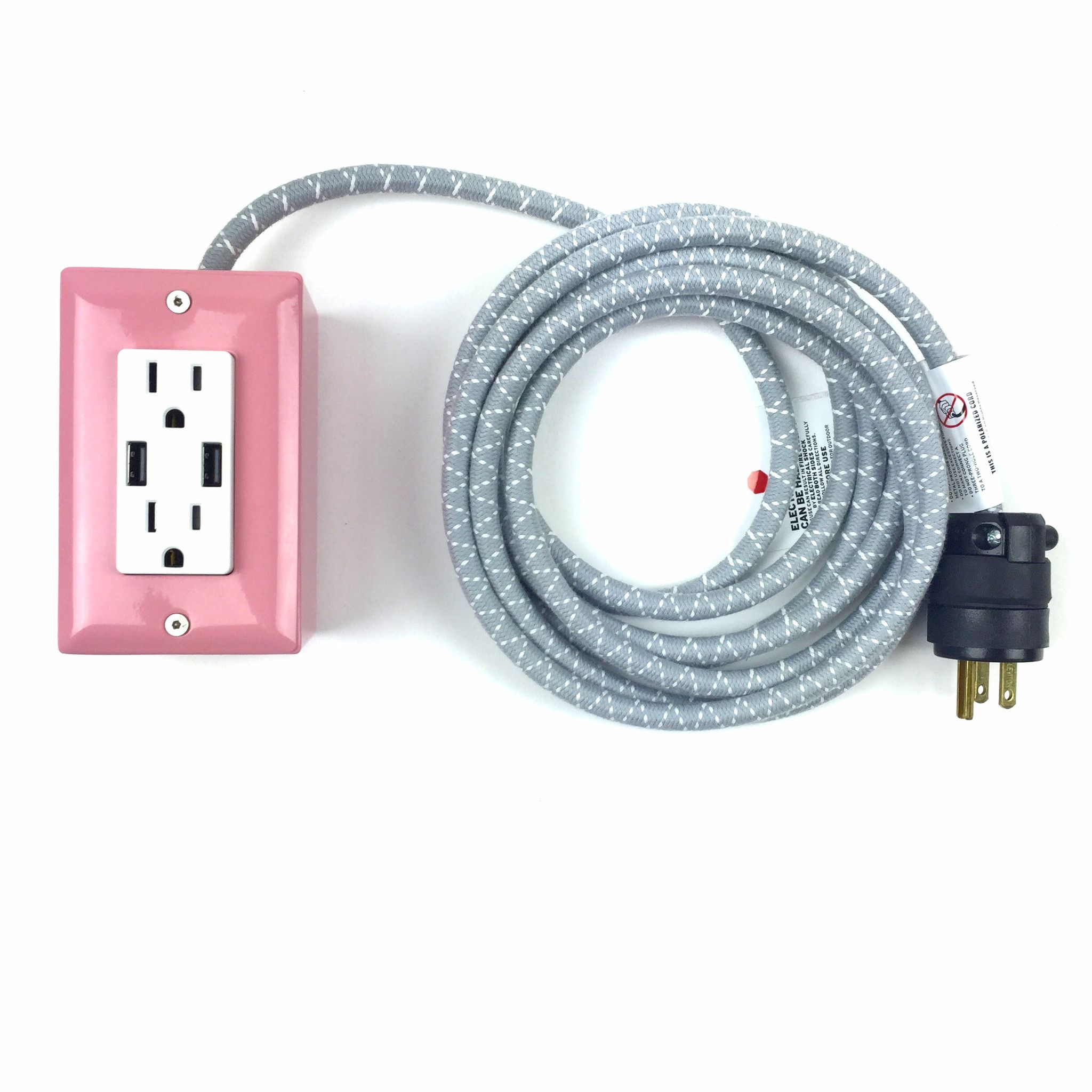 The First Smart Chip Extension Cord 12 Extō Dual Usb Dual Outlet Candy Pink Dual Usb Extension Cord Pink Candy