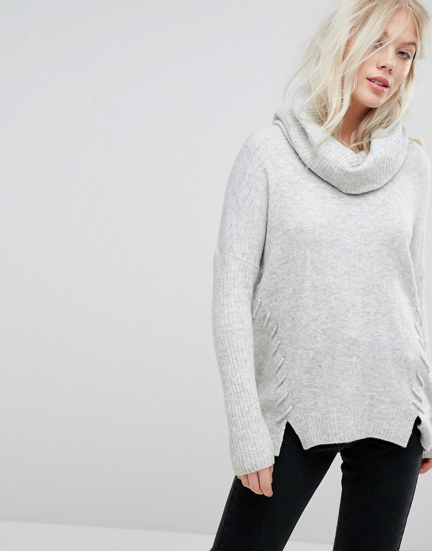 Miss Selfridge Slouchy Cowl Neck Sweater - Gray | Products ...