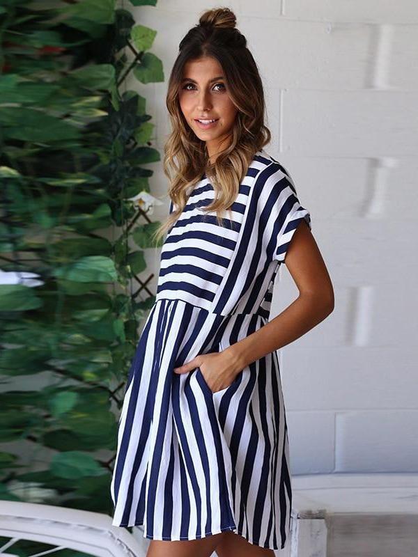 Summer Beach A-Line Striped Short Sleeve O-Neck Print Pink Sundress Mini Dress - Blue / L