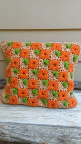 Vintage 70s throw pillows crochet
