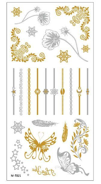 Metallic waterproof temporary tattoos. Arabic Indian designs to bring the mystical East into your life.