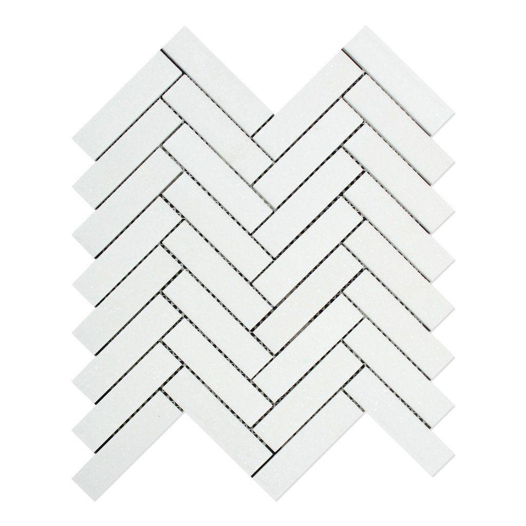 Thassos White Marble Polished 1 X 4 Herringbone Mosaic Tile Herringbone Mosaic Tile Calacatta Gold Marble Marble Mosaic