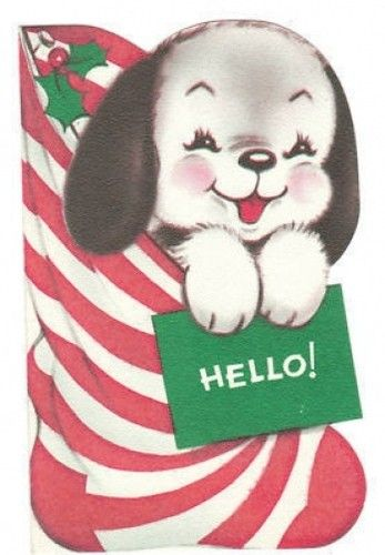 Vintage Christmas Card Beagle Puppy Dog in Stocking Flocked Die-Cut Norcross