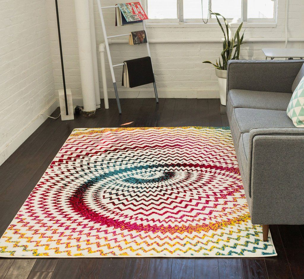 Warp Multi Chevron Red Blue Yellow Green Zigzag Modern Abstract 3d Area Rug Well Woven Area Rugs Rugs