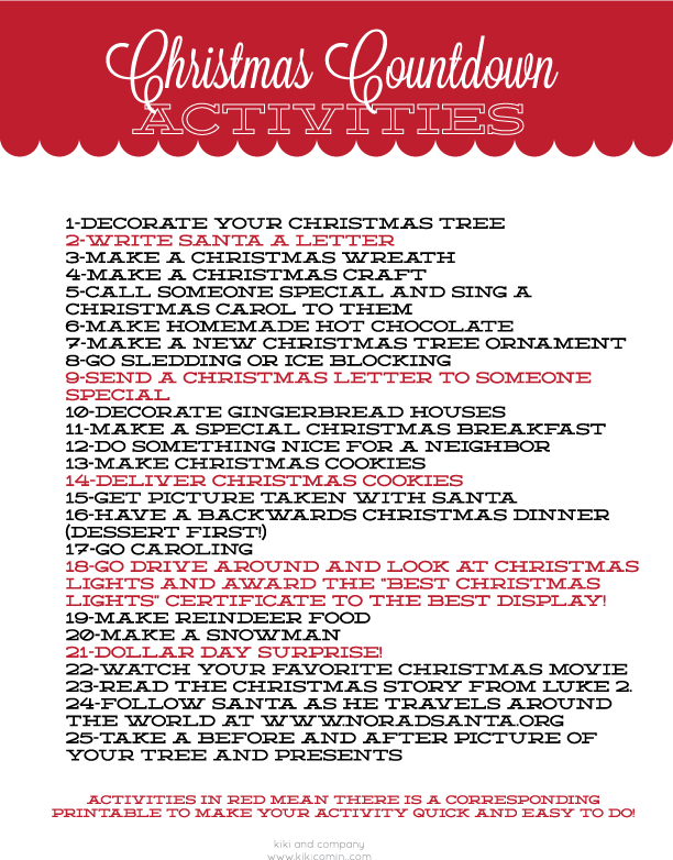 christmas countdown activities list some ideas for our annual christmas wreath activities