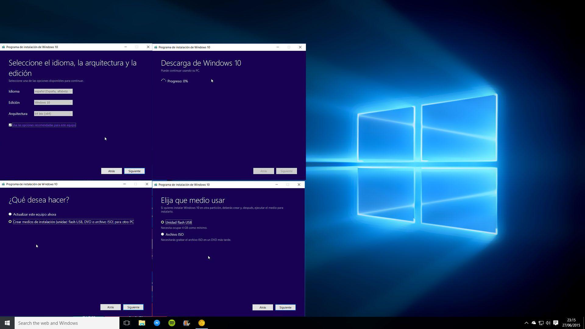 Descargar e instalar Windows 10 en Español con Media
