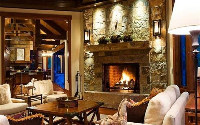 Living Room At Modern Luxury Ranch Style Home Design Home Design