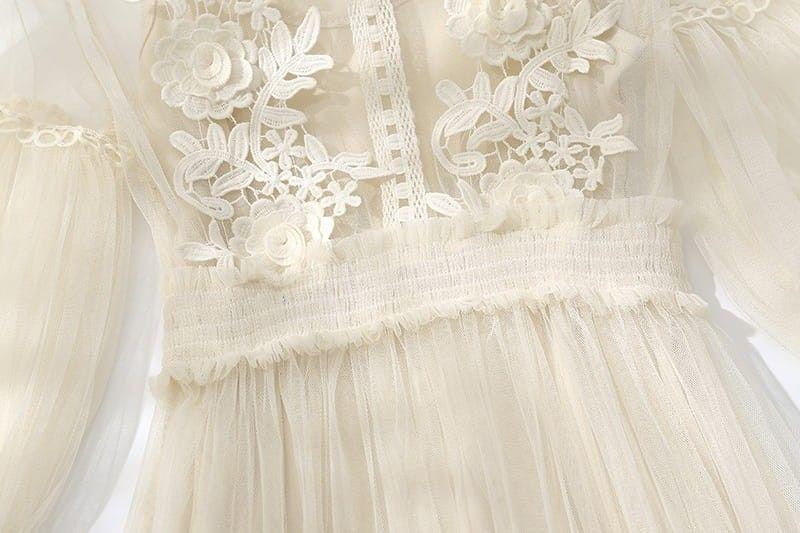 Sukienka Kremowa Midi Tiul Romantyczna Zwiewna Flower Girl Dresses Wedding Dresses Wedding Dresses Lace