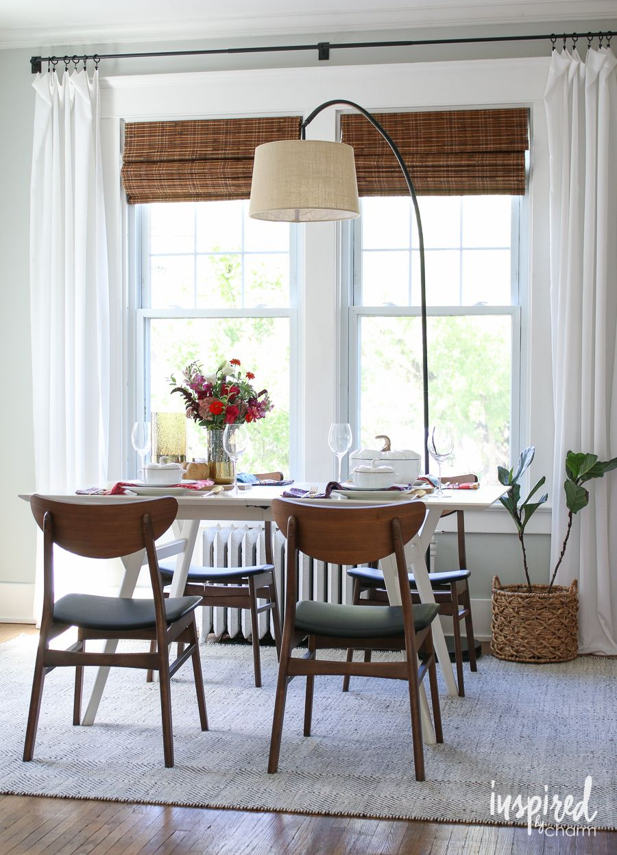 fall home tour 2016 inspiredbycharm com window treatments living room dining room window on farmhouse kitchen curtains id=60989