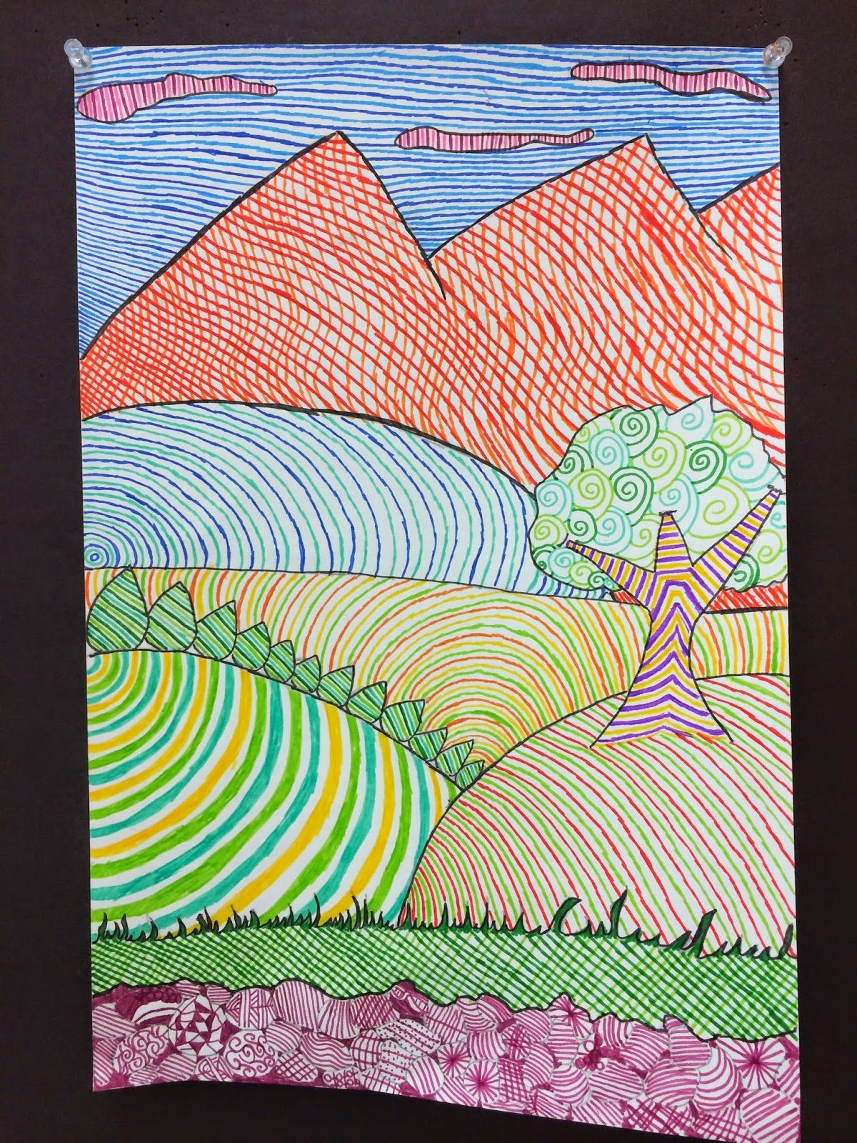 Line Design Landscapes Created By 6th Grade