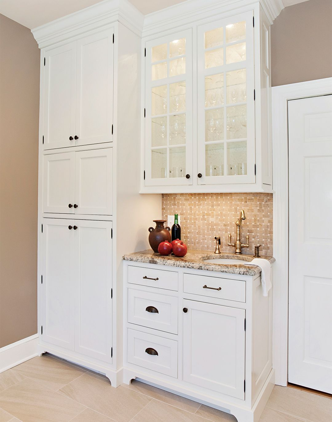 Cottage Kitchen Cabinetry Dressed in White   Plain & Fancy ...