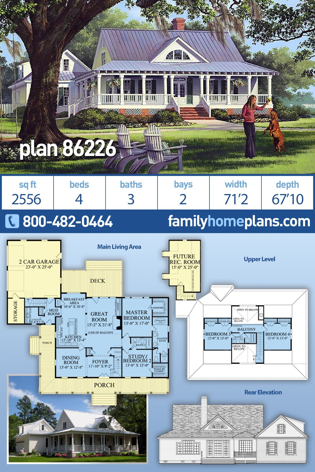 Photo of Plan 86226: Southern Style Country Farmhouse with 2500+ sq. ft., 4 Bedrooms, 3 Bathrooms Wrap Porch