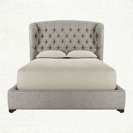 Mariah Tufted Upholstered Queen Bed In Taft Pewter And Fossil | Camas