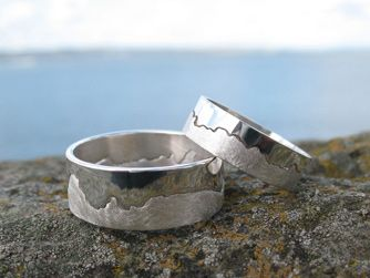 """For Richard and I-""""Coast"""" Rings. Matching Hanalei/Lumahai coastline (where we were married) etched in Silver. Anniversary?"""