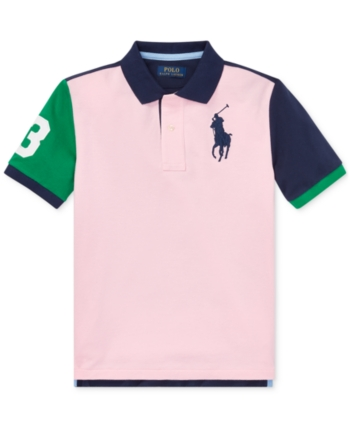 5dd5d59f19 Polo Ralph Lauren Big Boys Colorblocked Big Pony Cotton Mesh Polo ...