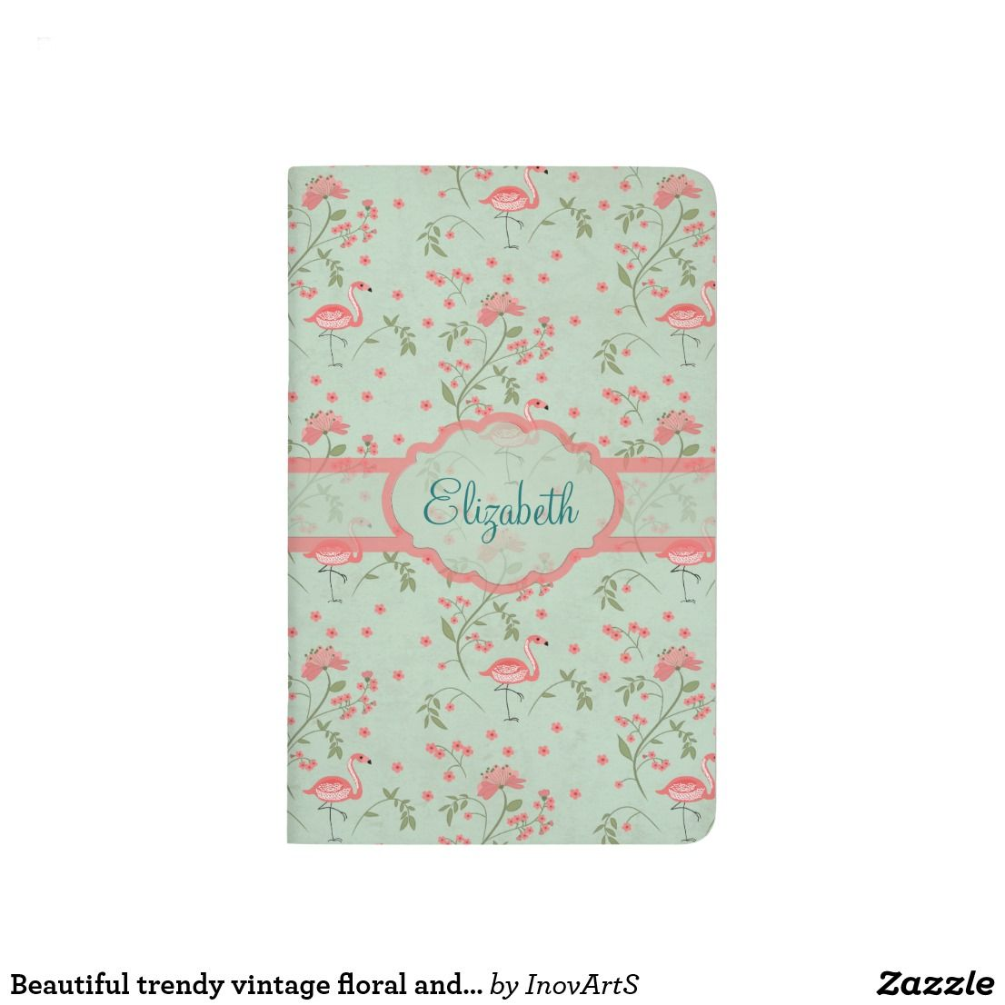 Beautiful Trendy Vintage Floral And Flamingo Birds Journal