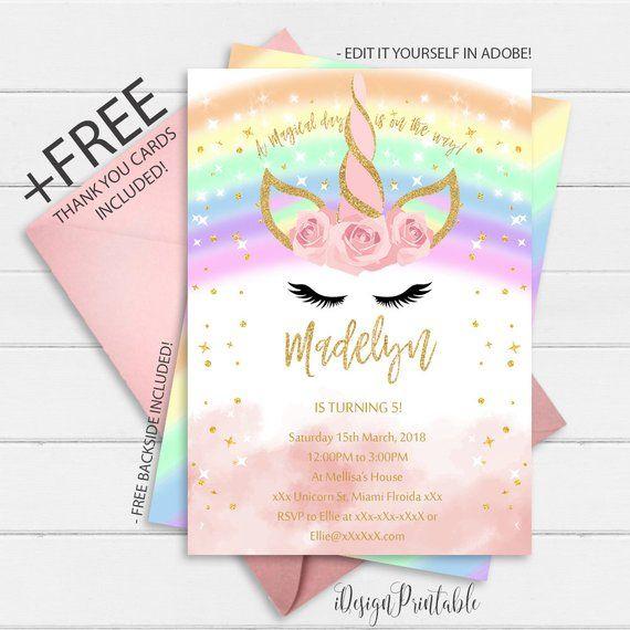 Magical Rainbow Unicorn Invitation Unicorn Party Invitation