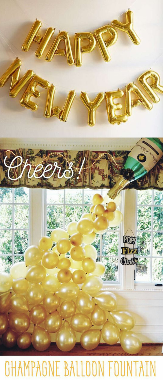 Easy New Years Eve Party Decorations Ideas in Black and Gold. Happy New Year Balloon Banner Garland in gold, silver and rose gold #newyear #newyearseve #newyears #newyearseveparty #newyearsevepartyideas #newyear2019 #2019 #partydecorations #partysupplies #blackandgold