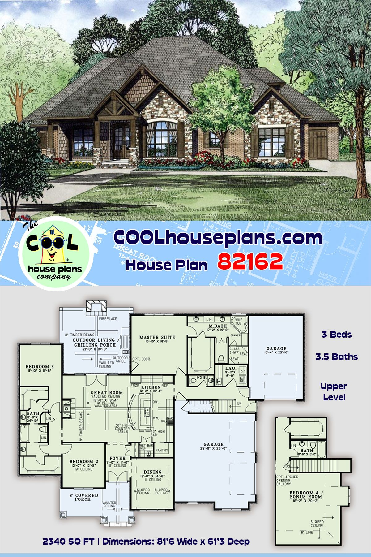 European Style House Plan 82162 With 3 Bed 4 Bath 3 Car Garage In 2020 Craftsman Style House Plans Best House Plans European House