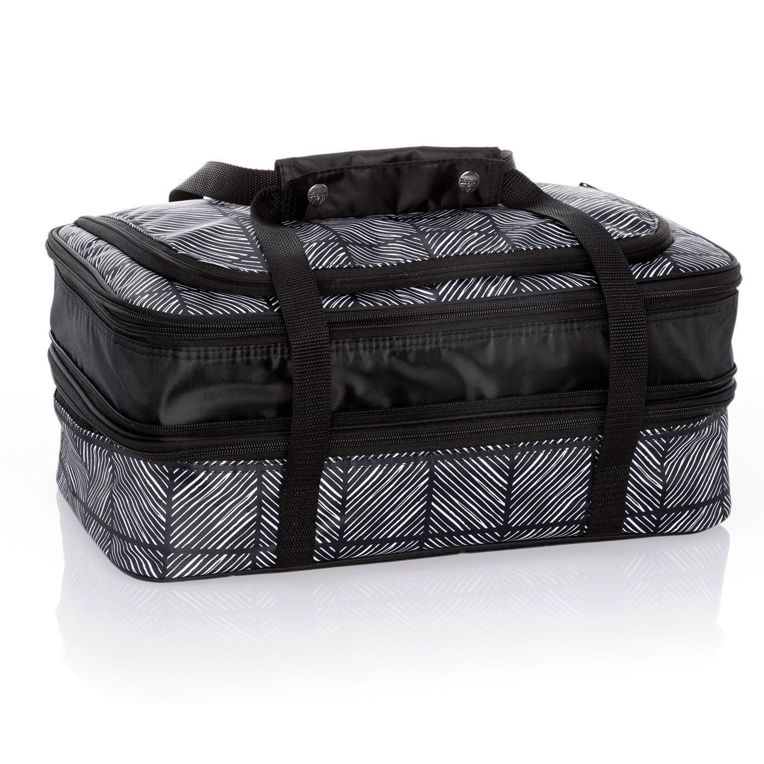 "c66ac96e67 Why you ll love it  The Perfect Party Set expands to hold two 9"" x 13""  casserole pans inside 2 interior water-resistant thermal compartments."