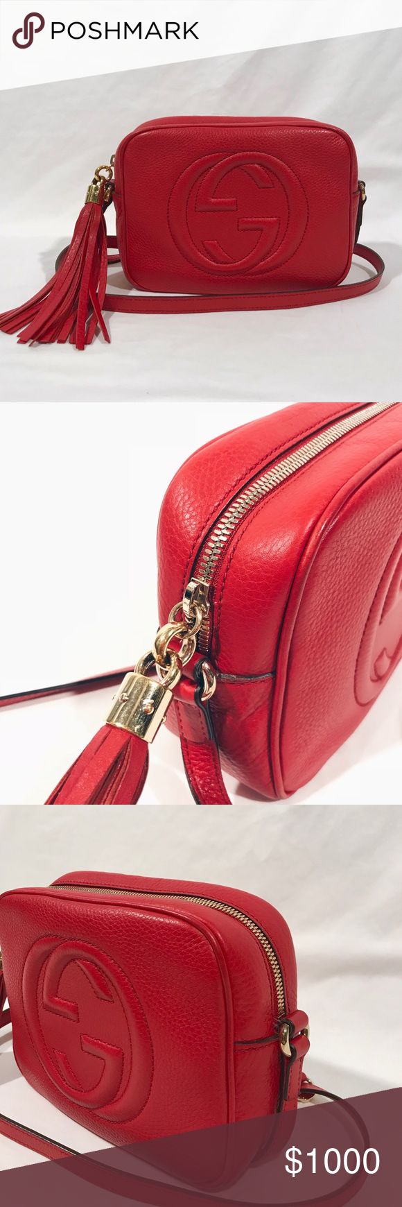 bc14bd5c74f7 100% Authentic Red Gucci Leather Soho Disco Bag 100% Authentic Red Gucci  Leather Soho