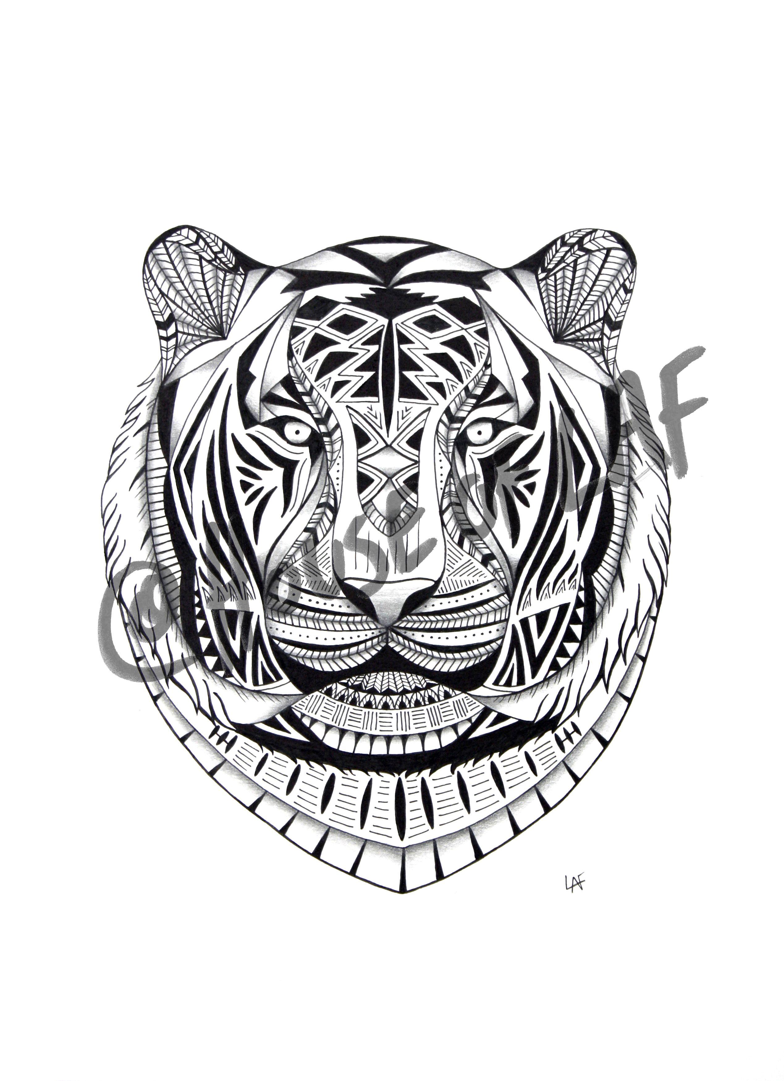 Black And White Tiger Illustration Art Tattoo Design By Houseoflaf Tiger Illustration Design Animal Tattoo