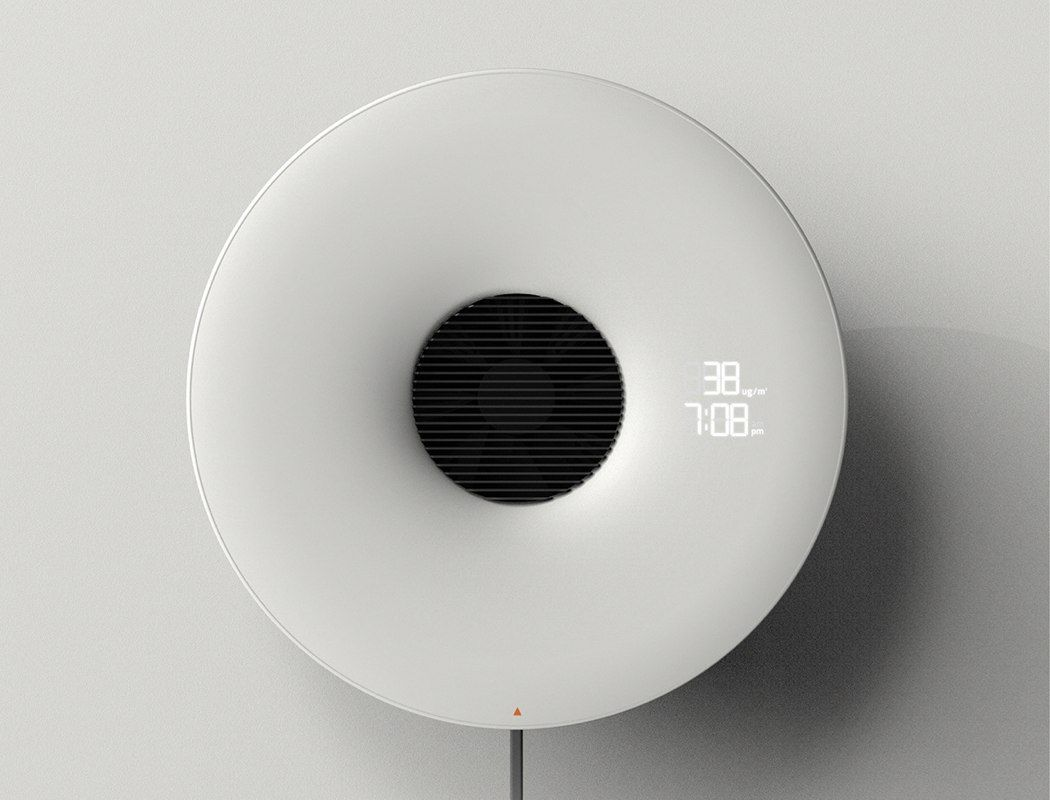The Wall Mounted Air Purifier And Clock For Compact Apartments Air Purifier Design Air Purifier Purifier
