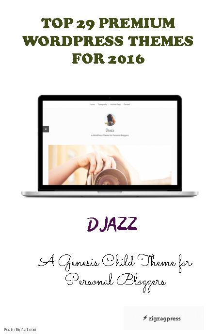 Top 29 Premium WordPress Themes - the Djazz Theme.  See our gallery for more themes - http://zigzagpress.com/themes/