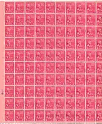 John Adams Sheet Of 100 X 2 Cent US Postage Stamps NEW Scot 806 3499