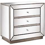 Trevi Mirrored Silver 32  Wide 3Drawer Accent Chest is part of Silver Home Accents Guest Rooms - Update your room with the gorgeous look of this contemporary accent chest  It comes in an silver mirrored finish and faceted glass knobs that offer a stylish sparkle  Brilliant trim beading surrounds the borders for an elegant touch  Three spacious drawers are built into this beautiful design for ample storage space