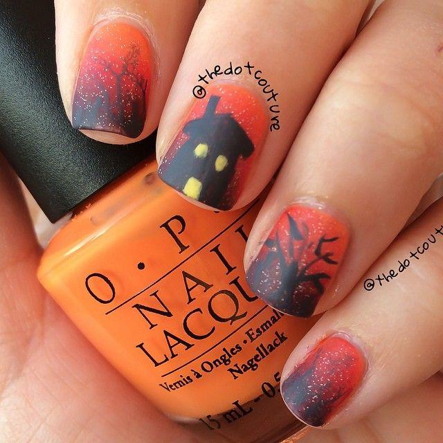 Haunted house Halloween nail art | Nail polish art designs ...