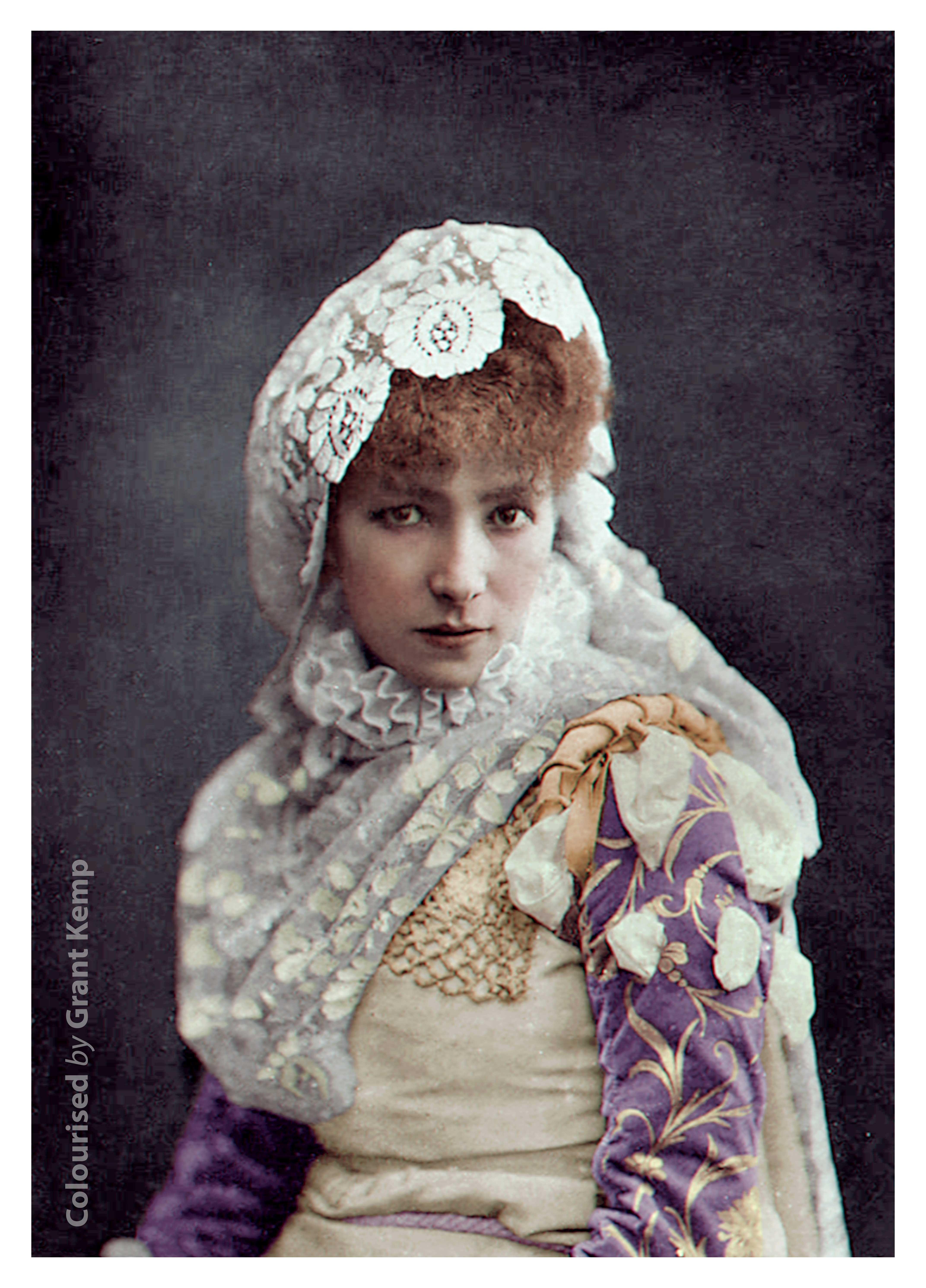 Sarah Bernhardt As Dona Sol In Hernani 1878 Hernani Photo Restoration White Picture