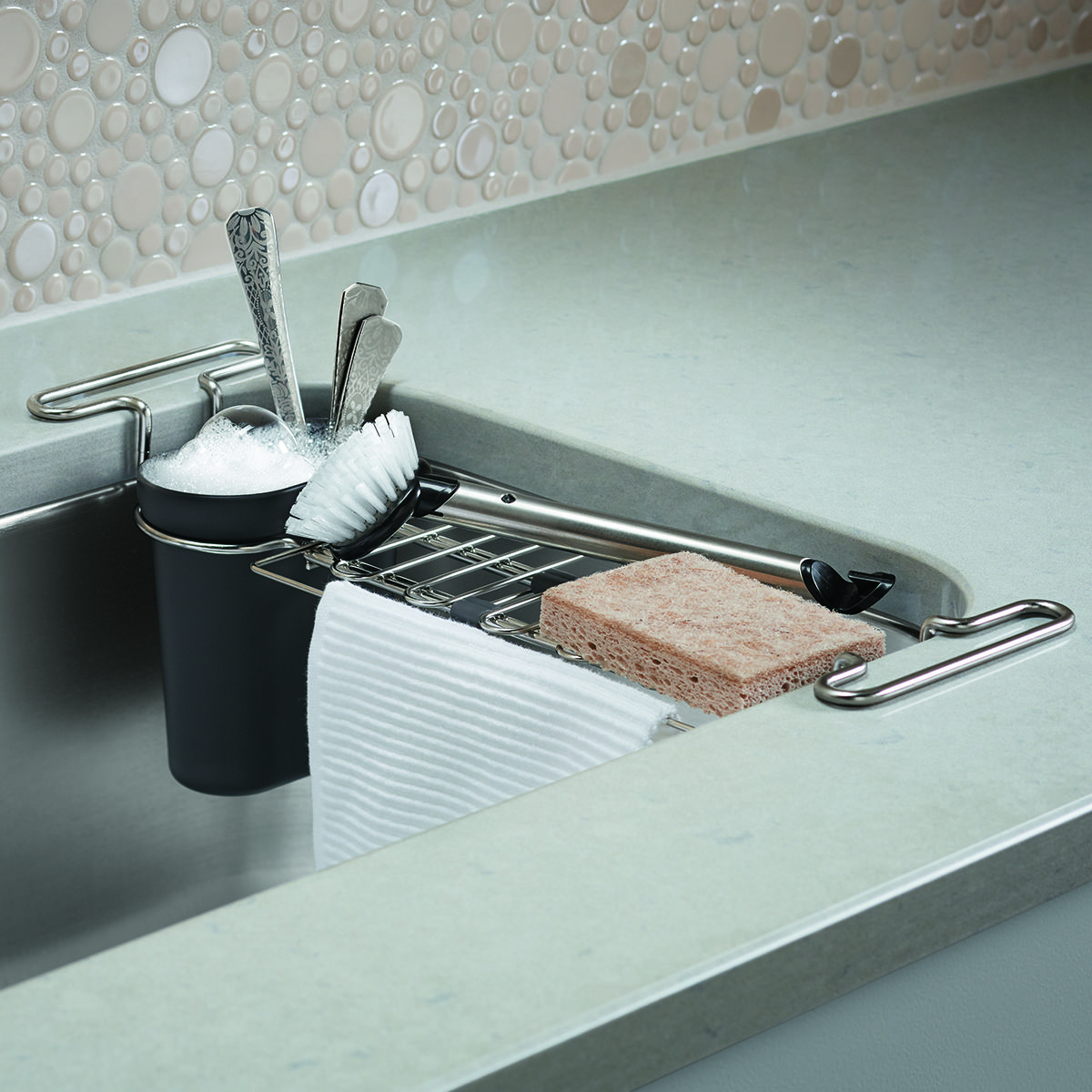 Our expandable Kohler Chrome Kitchen Sink Utility Rack is