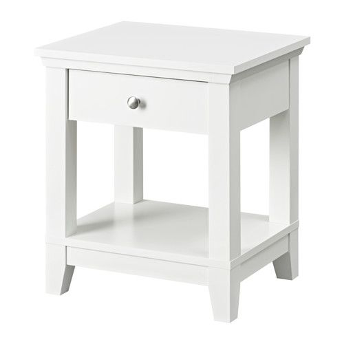Herefoss Bedside Table White 52x44 Cm