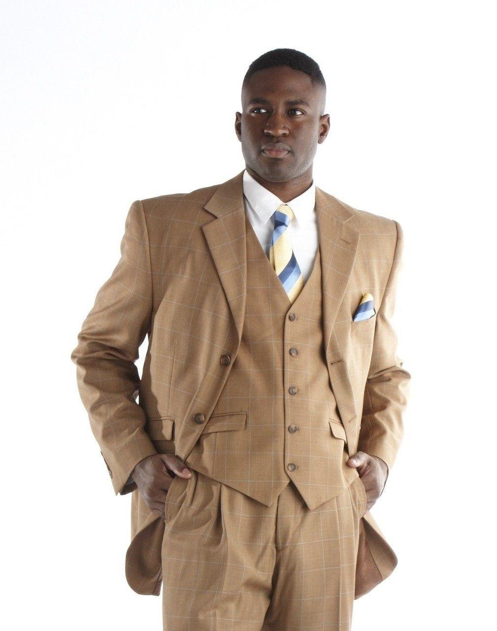 Steve Harvey Plaid 3 Pc. Suit - Cognac   Steve harvey