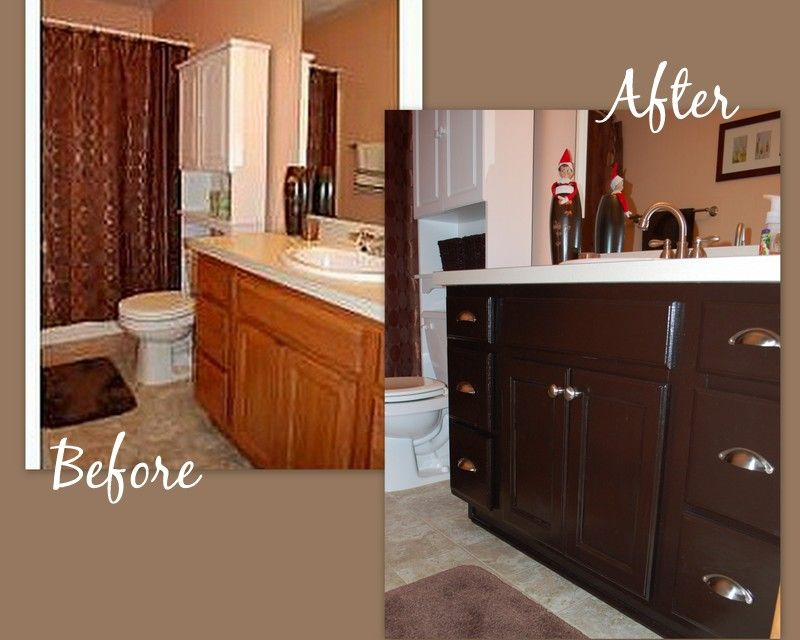 We Used Gel Stain (barely Any SANDING) On Our Oak Cabinet In Our Bathroom.  An $8 Can Of Gel Stain Can Work Wonders. | DIY | Pinterest | Honey Oak  Cabinets, ...