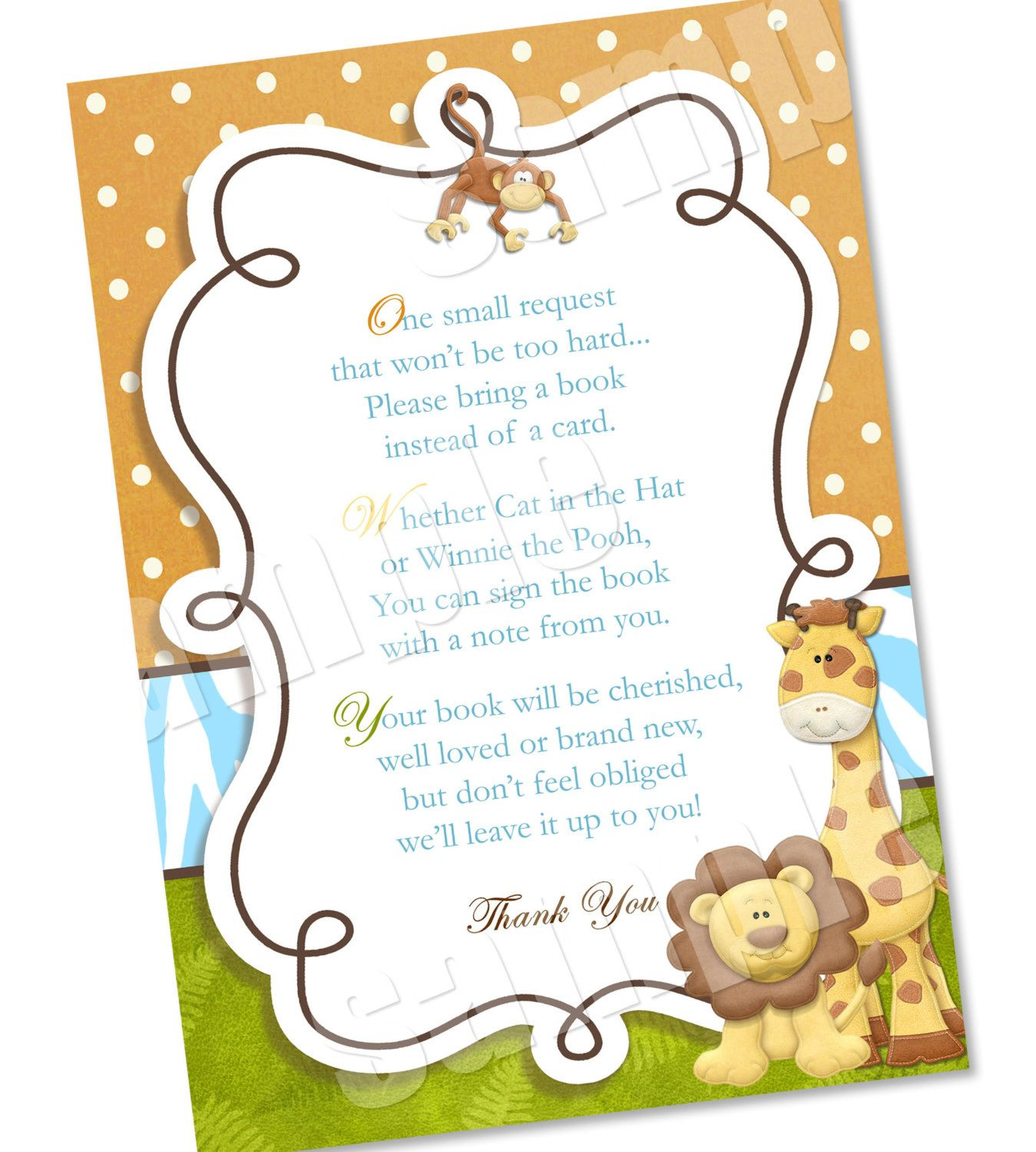 Wording To Ask For Baby Books Instead Of The Card Please Bring A Book Jungle Shower Invitation