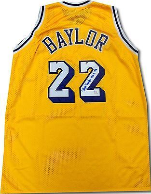 9332a09b34a9 Elgin Baylor Signed Autographed Los Angeles Lakers Yellow Jersey HOF 76 PSA  DNA