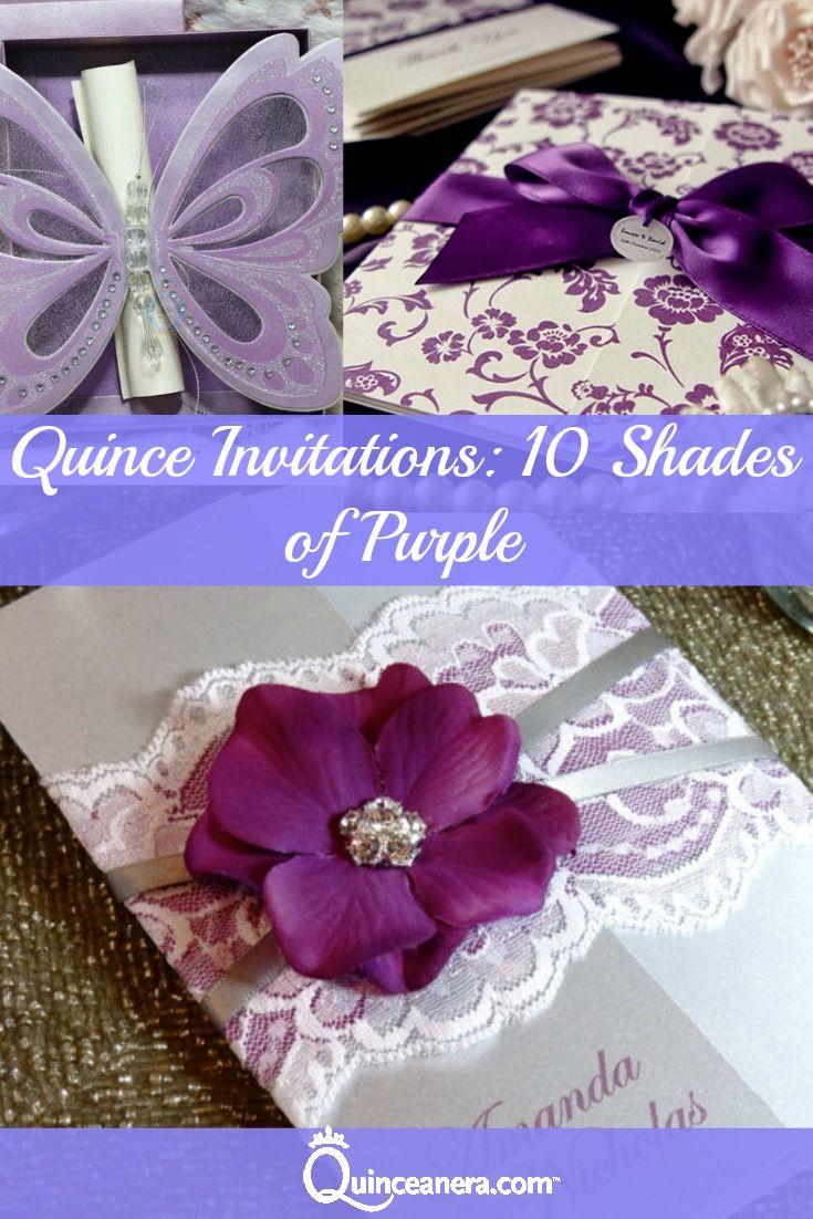 quince invitations 10 shades of purple quincenera ideas