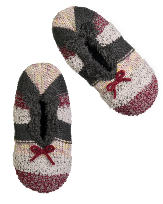 b9679aebbc4 Women's Fluffy Knit Striped Slipper Sock with Delicate Bow | New ...