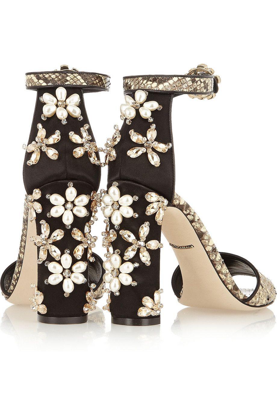 Embellished snakeskin sandals Dolce & Gabbana RwWxZxFy